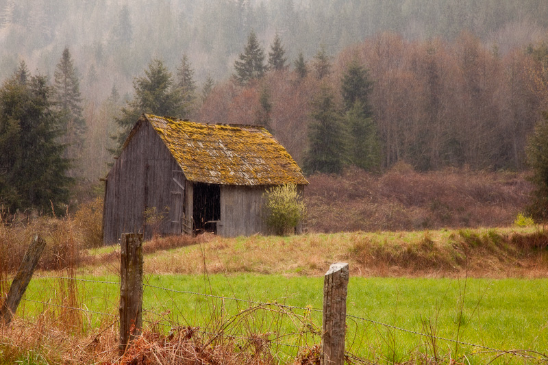 Washington; Discovery Bay; Barn in Rain