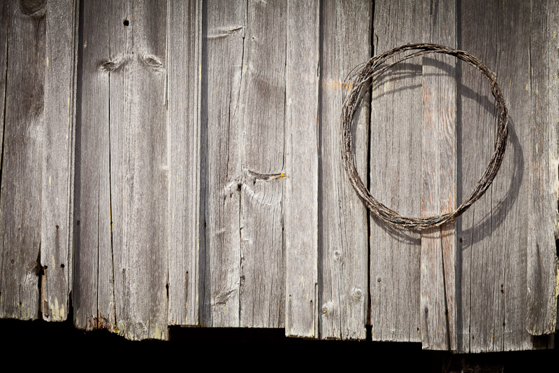 Wire coiled on wall, Historic Petersen Farm, Silverdale Washington