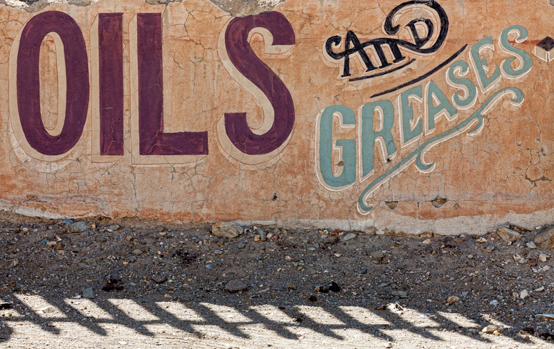 Oils and Greases sign, Randsburg, California