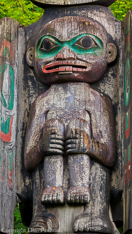 Detail of a totem pole, Wrangell, Alaska