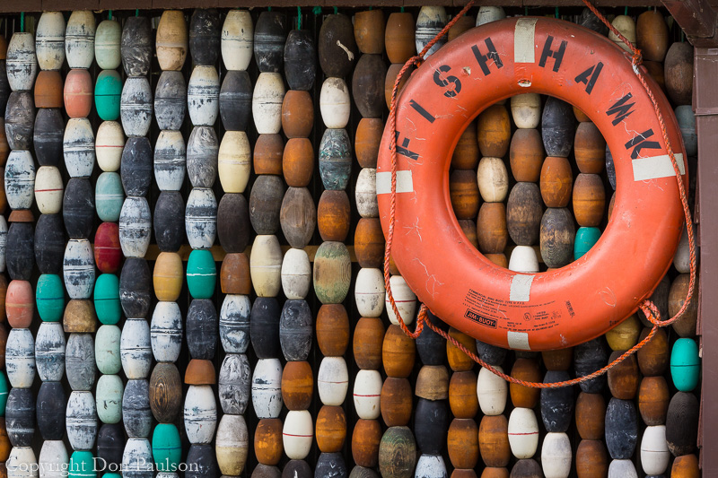A collection of fishing floats in Wrangell, Alaska