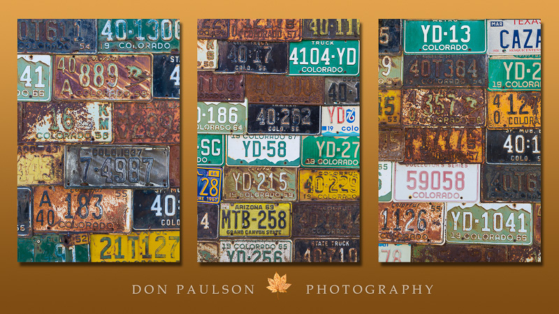 Triptych of license plates (available individually)
