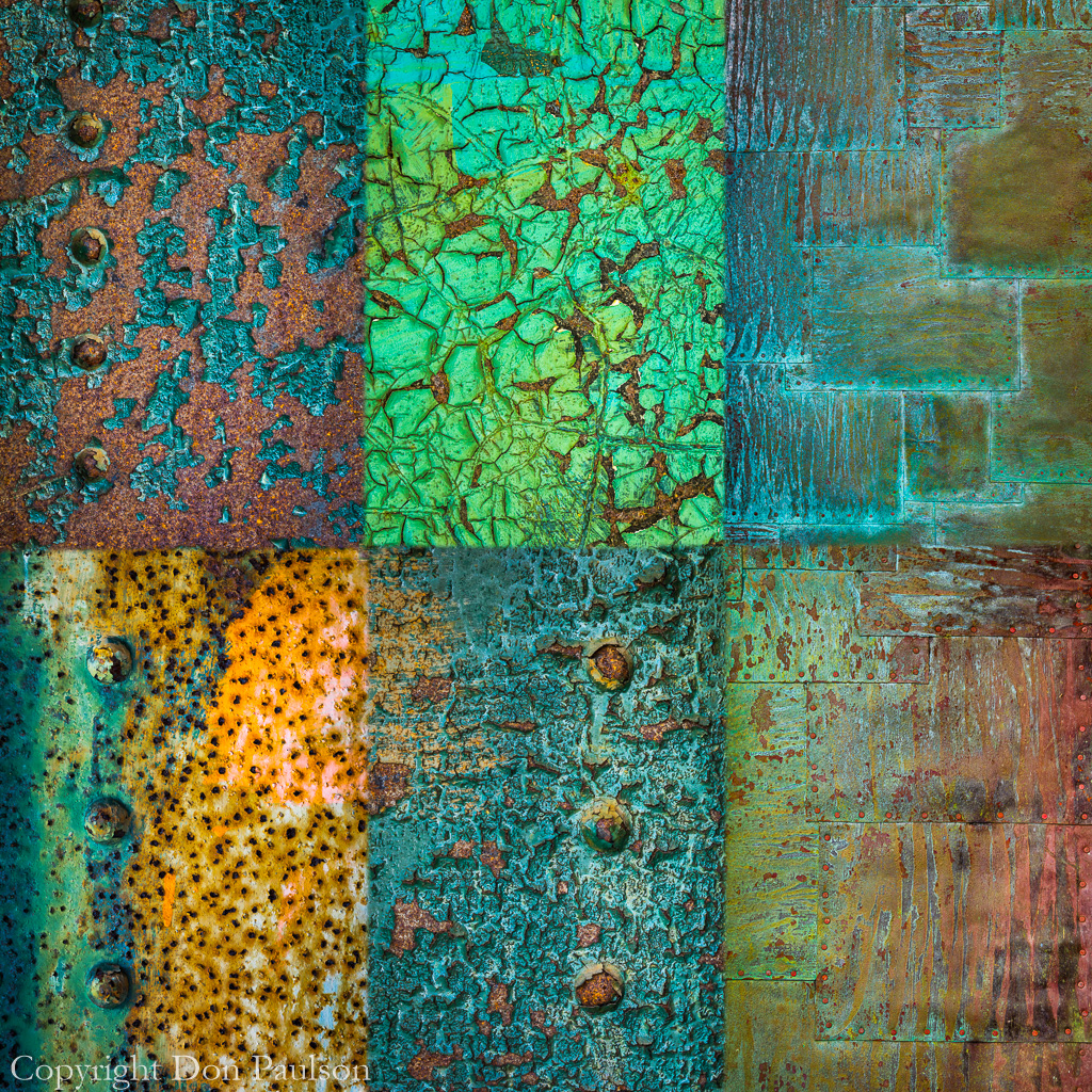 Decaying metal collage