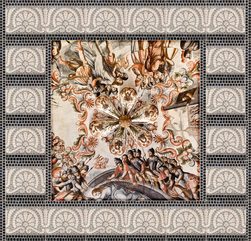 Collage of Church ceiling and tiles