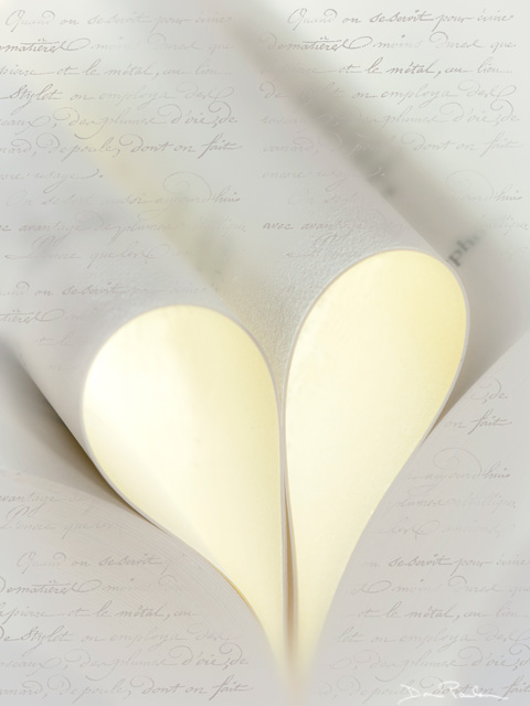 Book Pages form Heart (vertical)