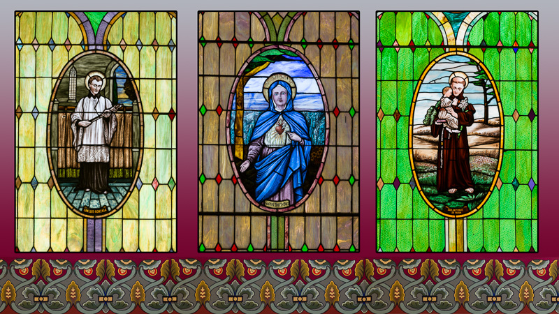 Stained Glass windows in Colorado's oldest church, Antonito, Colorado - Very high resolution, triptych