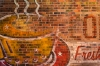Painting on brick wall, Sante Fe, New Mexico