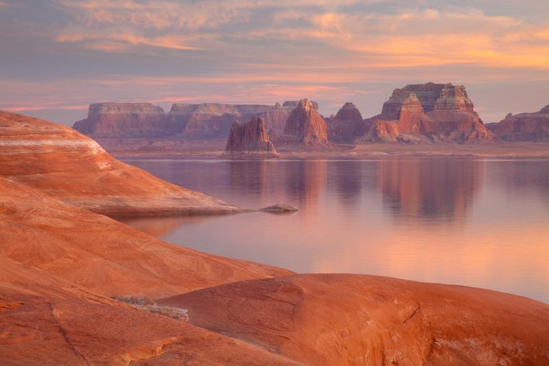 Pastel Sunset, Lake Powell; Weathering Pit Ridge; Padre Bay