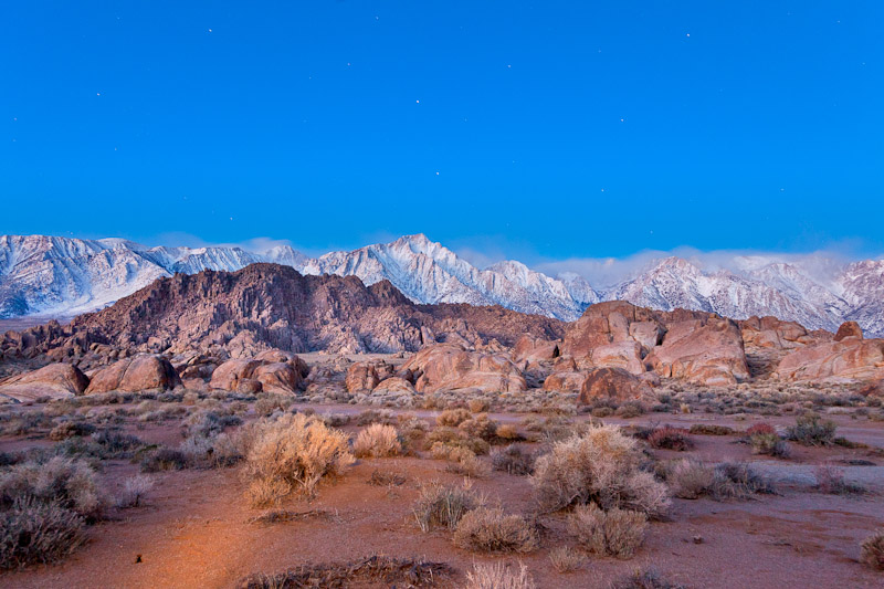 Saturn and Venus in Night Sky over the Sierras and Alabama Hills, California