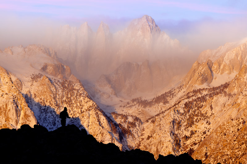 Hiker, Mount Whitney from Alabama Hills, near Lone Pine, California