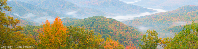 Black Mountains overlook, Blue Ridge Parkway, North Carolina. High Resolution, multi-image Panorama, 18 Inches x 72 Inches @300dpi