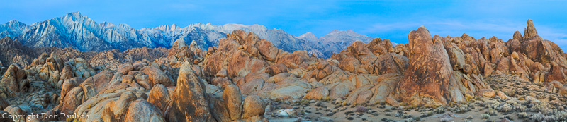 Sunrise, Lone Pine Peak and Mount Whitney from the Alabama Hills, California.  High Resolution, Multi-image Panorama, 18172 pixels long.