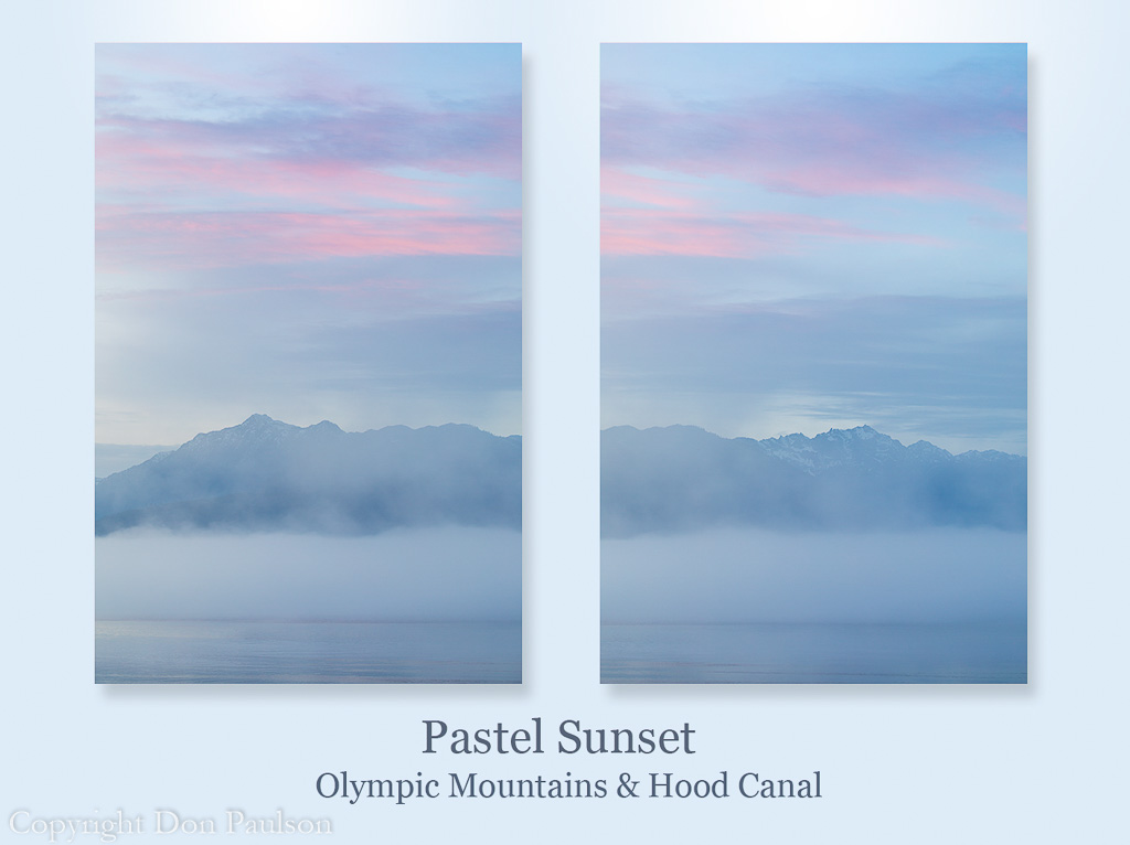 Pastel Sunset over the Olympic Mountains and Hood Canal