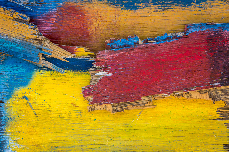 Abstract close up of painted wood, Santa Fe, New Mexico