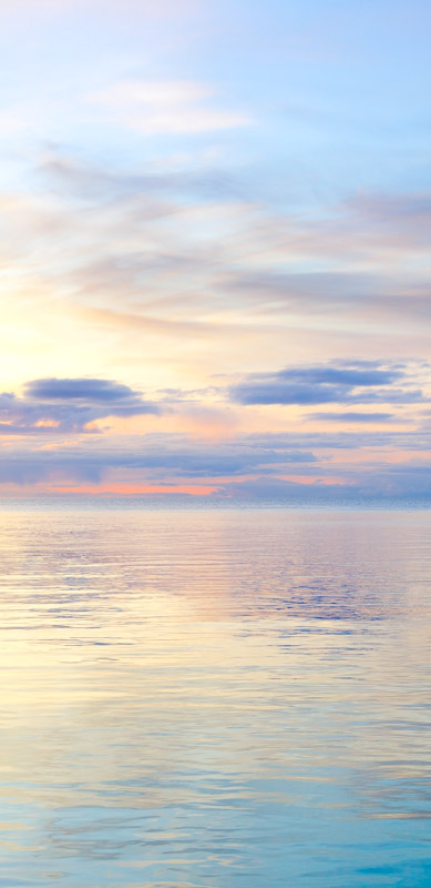 A pastel seascape at sunset in the San Juan Islands, Washington