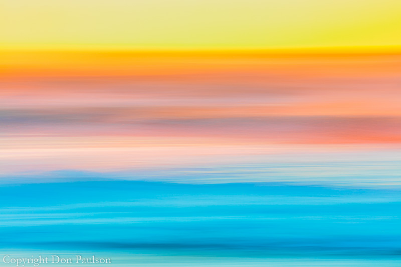 Abstract motion blur of sunset and ocean Surf, Cape Disappointment State Park, Washington