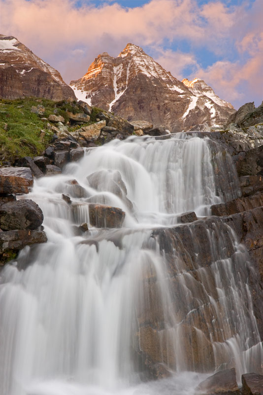 Waterfall and Mountain, Yoho National Park, British Columbia