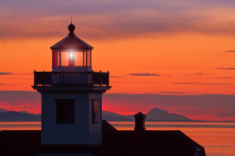 Washington; San Juan Islands; Patos Island Lighthouse; Sunset