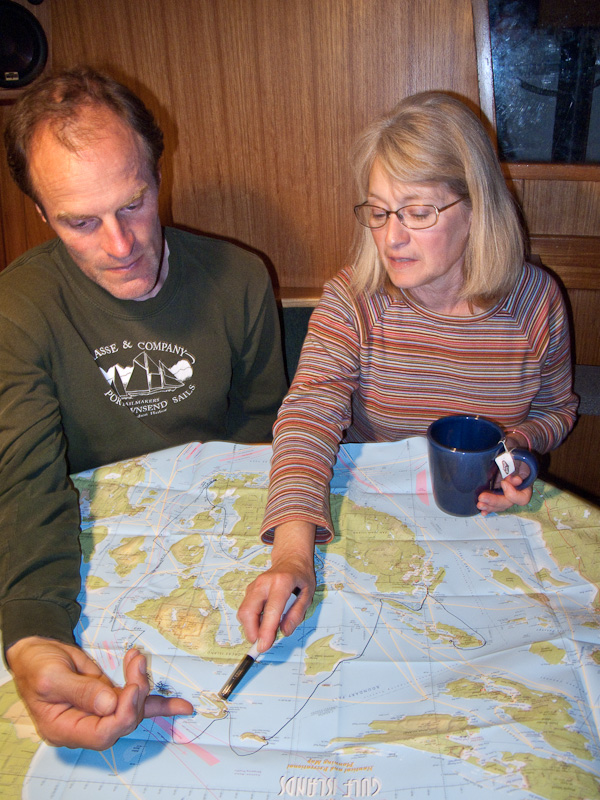 Captain Dave Lutz shows possible routes to take