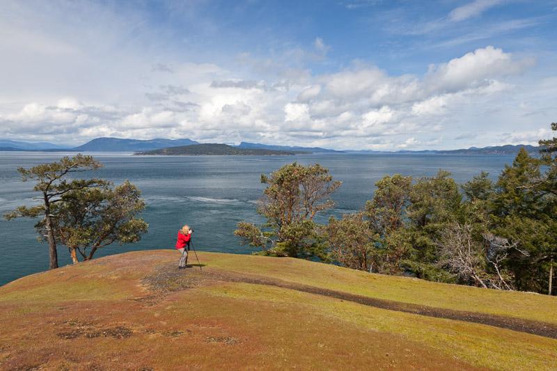 Photographing, overlook near Turn Point, Stuart Island