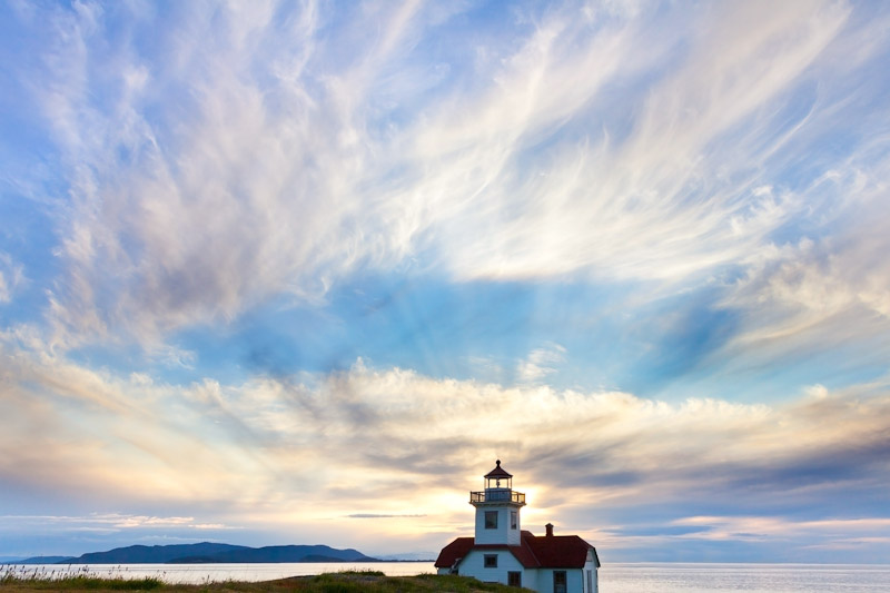 Patos Island Lighthouse & Rays of Light, San Juan Islands, Washington