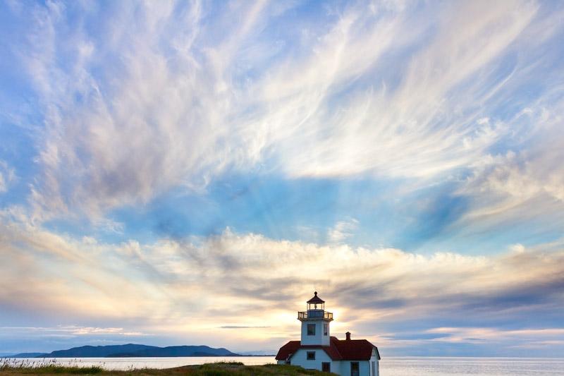 Patos Island Lighthouse & Rays of Light, San Juan Islands, Washington