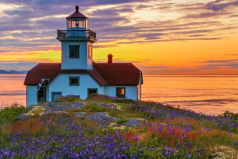 Sunset, Patos Island Lighthouse, San Juan Islands, Washington