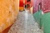 Colorful cobblestone street scene, San Miguel de Allende, Guanajuato, Mexico