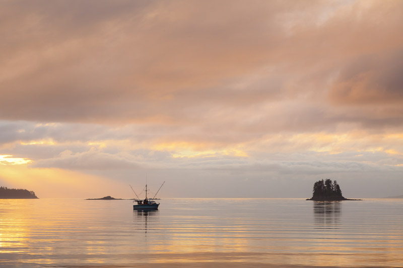 Sunset, Inian Islands, near Elifin Cove, Alaska