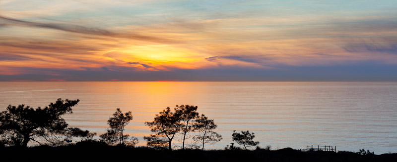 Panorama Sunset, Torrey Pines State Natural Reserve and State Beach, near La Jolla, California