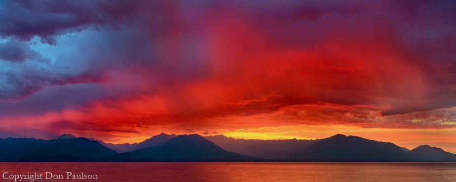 Stormy Sunset over the Olympic Mountains and Hood Canal