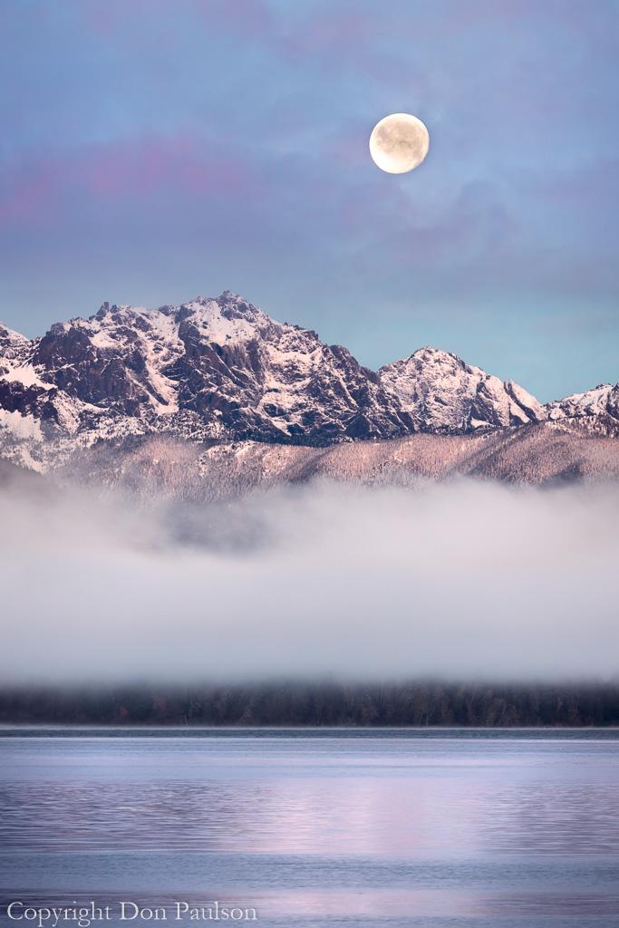 Moon set over Mt. Constance