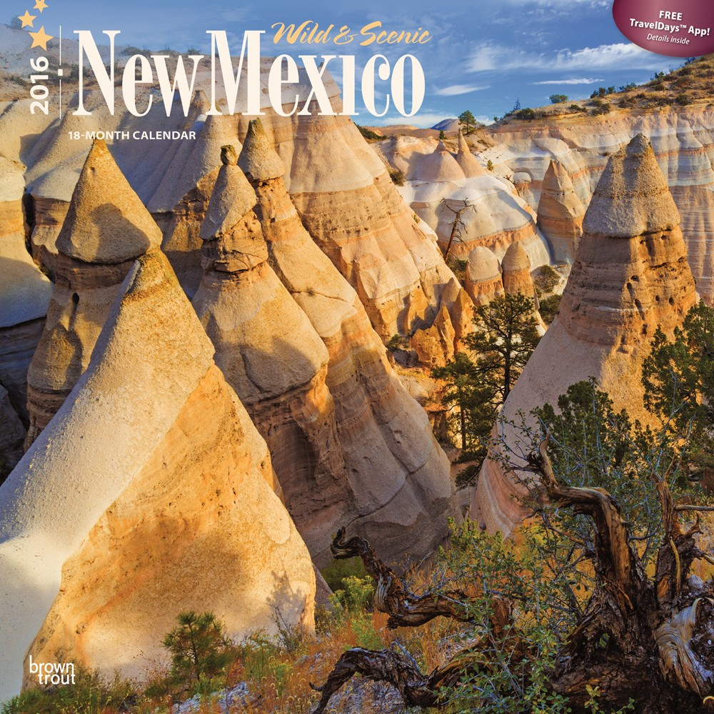 My photo of Tent Rocks on cover of 2016 New Mexico Calendar