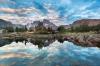 Mount Ritter and Banner Peak reflected in Garnet Lake at sunrise