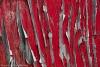 Peeling red paint on wood